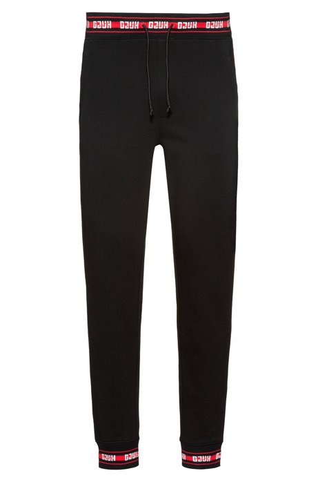 Pantalon Regular Fit en coton avec finitions logo, Noir
