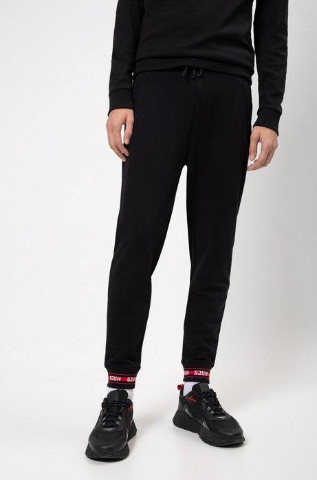 Regular-fit broek van katoen met logodecoraties, Zwart