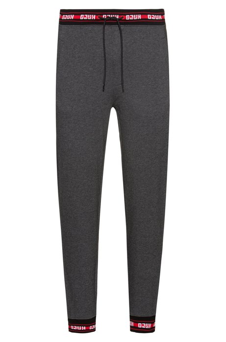 Regular-fit trousers in cotton with logo trims, Dark Grey