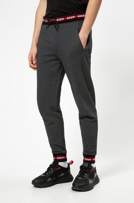 Pantalon Regular Fit en coton avec finitions logo, Gris sombre