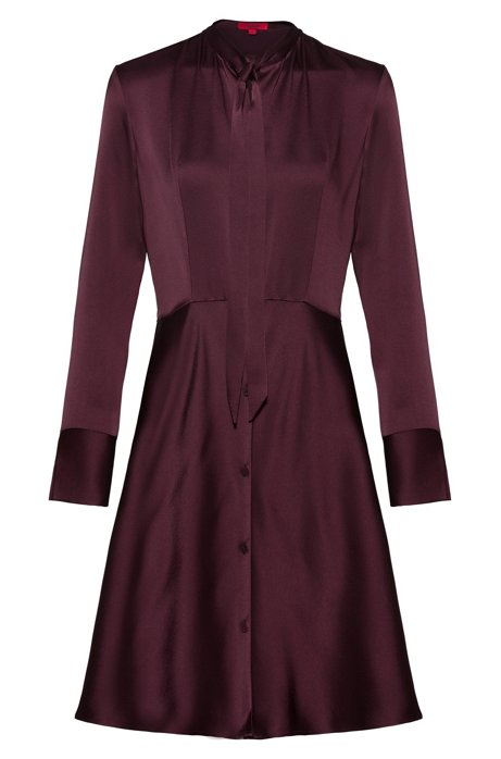 Slim-fit shirt dress with bow neckline, Dark Red