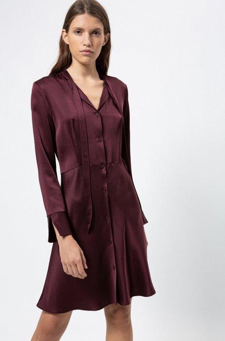 Slim-fit shirt dress with bow neckline, Dark Red