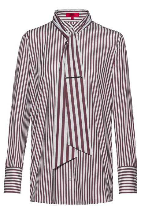 Striped cotton-blend blouse with tie detail, Patterned
