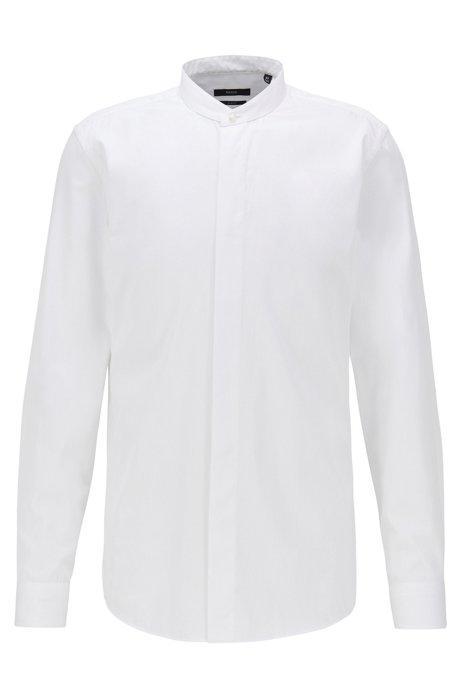 Slim-Fit Smoking-Hemd aus Baumwoll-Satin mit verstellbaren Manschetten, Weiß