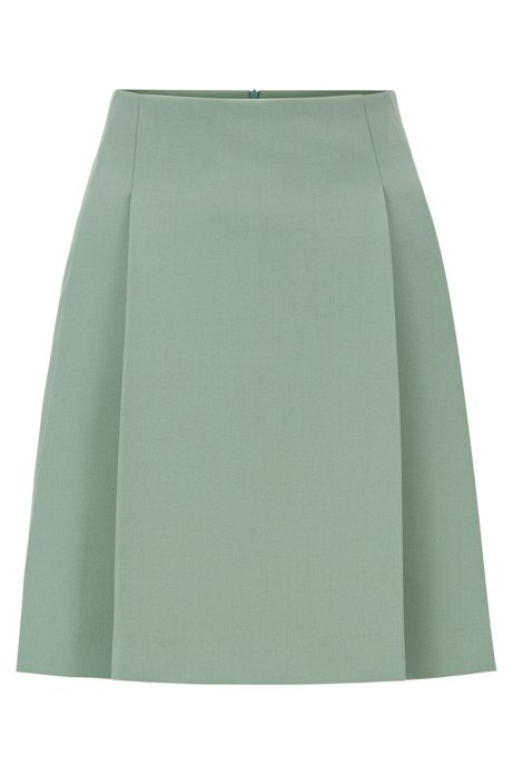 Mini skirt in Portuguese stretch twill with pleats, Light Green