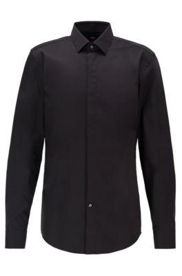 Chemise Slim Fit en coton autrichien facile à repasser, Noir