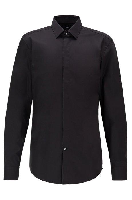 Camisa slim fit en algodón austriaco de planchado fácil, Negro