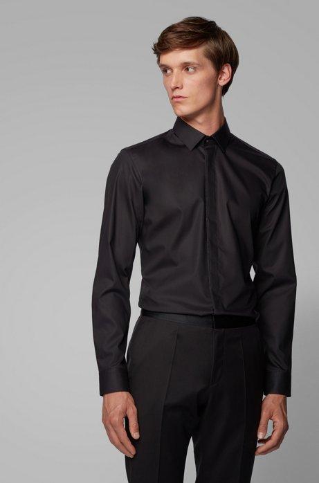 Slim-fit overhemd van gemakkelijk te strijken katoen, Zwart