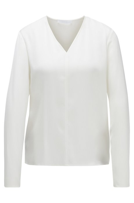 Long-sleeved top in stretch silk with V neckline, Natural