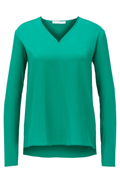 Long-sleeved top in stretch silk with V neckline, Green