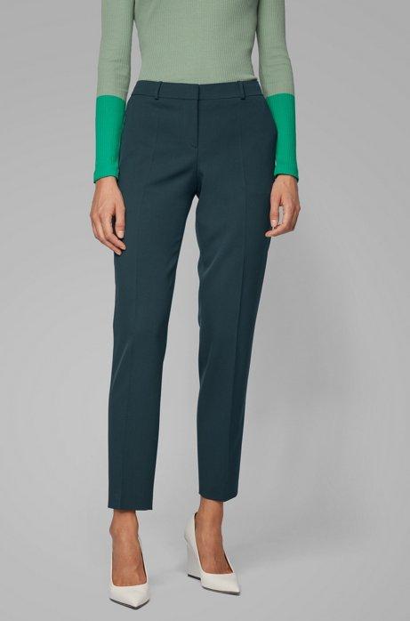 Regular-fit broek van scheerwollen twill met stretch, Donkergroen