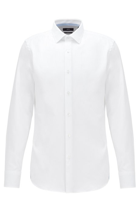 Slim-fit shirt in micro-structured cotton, White