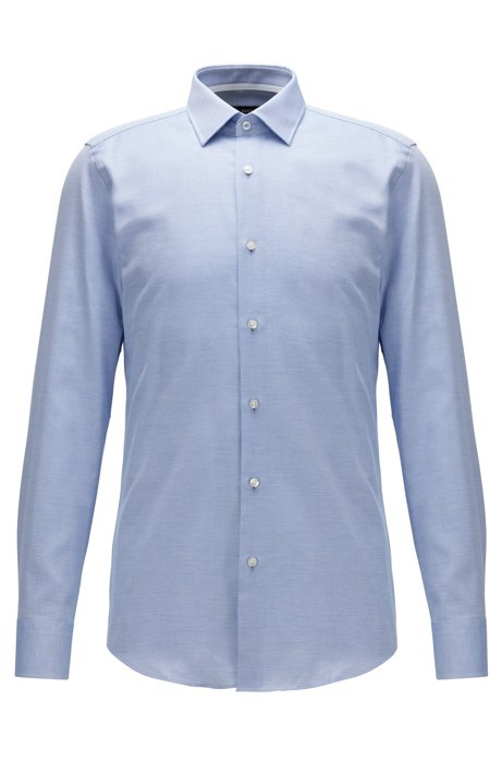 Slim-fit shirt in micro-structured cotton, Blue