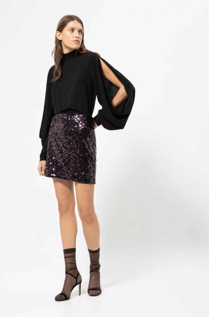 Regular-Fit Bluse mit Aussparungen an den Schultern