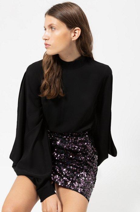 Regular-Fit Bluse mit Aussparungen an den Schultern, Schwarz