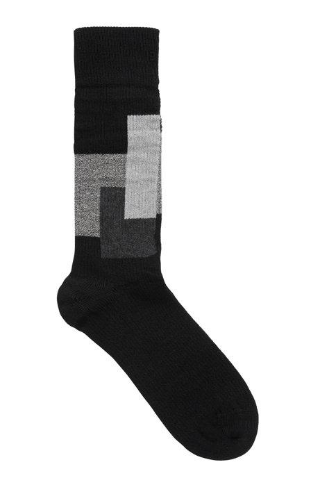 Ribbed boot socks with contrast squares in wool blend, Black