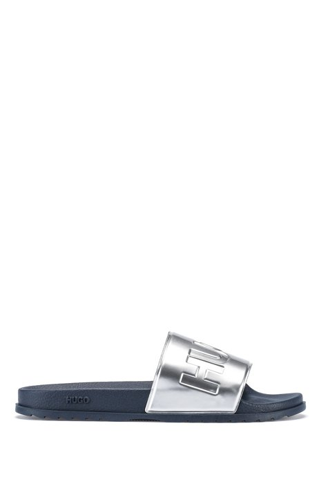 Italian-made metallic slides with contrast logo, Silver