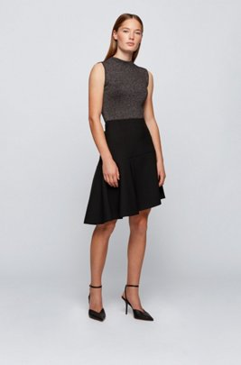 Mock-neck sleeveless top in a lustrous wool blend, Black