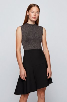 Mock-neck sleeveless top in a lustrous wool blend, Black