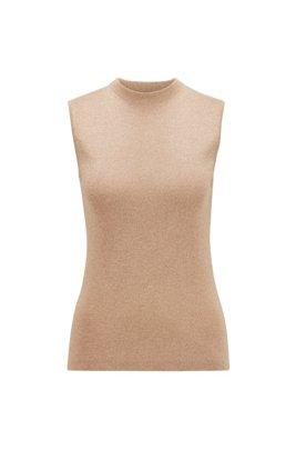 Top sin mangas con cuello medio en mezcla de lana lustrosa, Marrón claro
