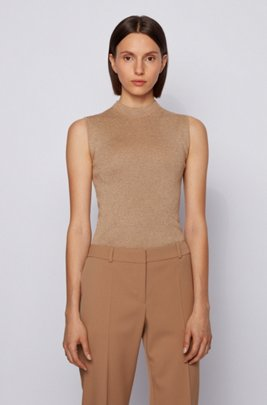 Mock-neck sleeveless top in a lustrous wool blend, Light Brown