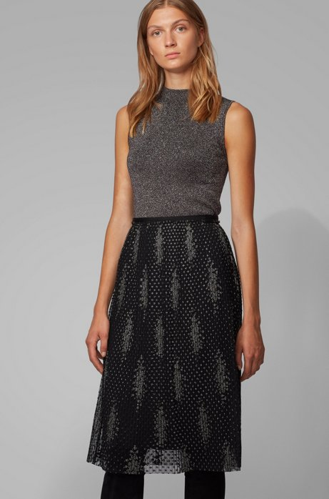 Mock-neck sleeveless top in a lustrous wool blend, Patterned