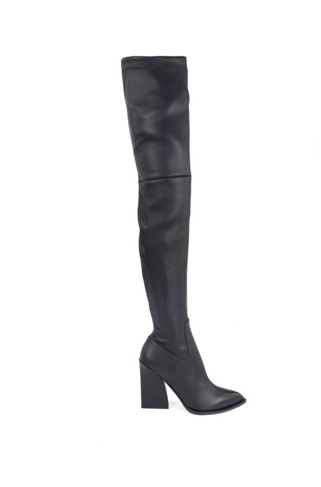 Over-the-knee heeled boots in Italian leather, Dark Blue