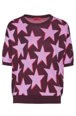 Strickpullover aus Jacquard mit Sternen-Motiv, Dunkelrosa