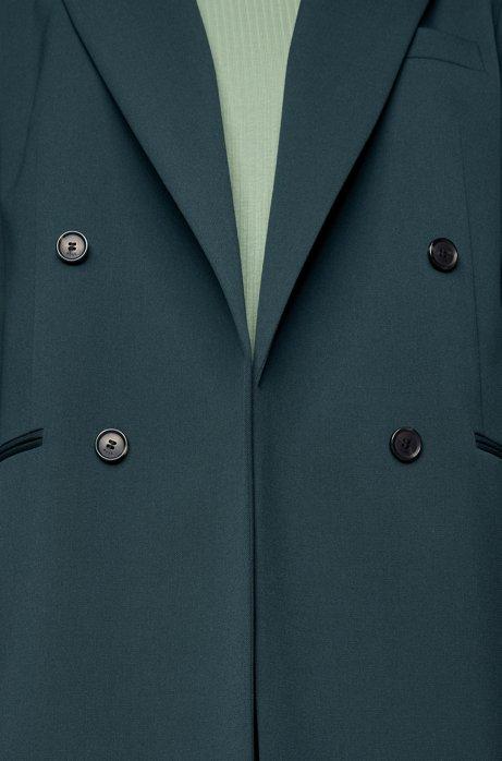 Regular-fit double-breasted jasje van scheerwol met stretch, Donkergroen