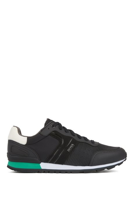 Sneakers stile runner con fodera interna in carbone di bambù, Nero