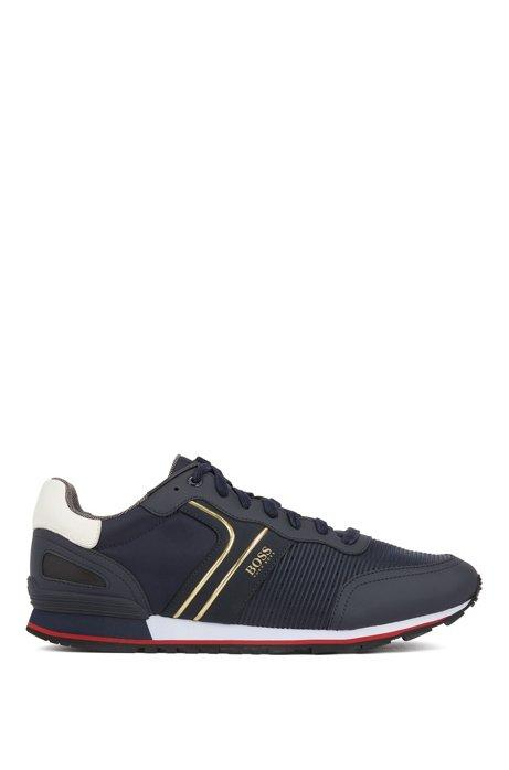 Baskets style chaussures de course avec doublure en charbon de bambou, Bleu foncé