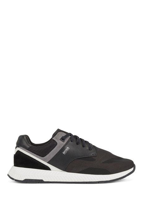 Low-top trainers with suede and nappa leather, Black