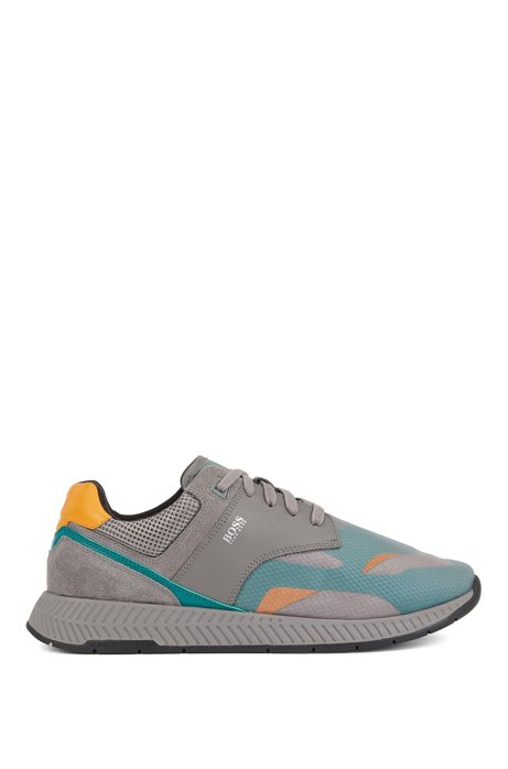 Low-top trainers with suede and nappa leather, Dark Grey