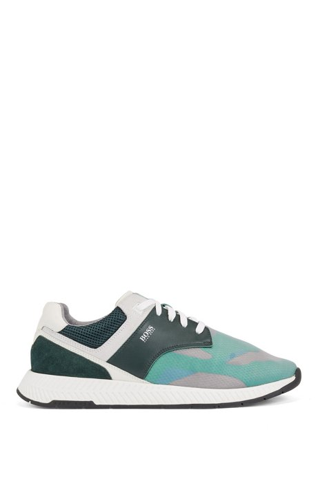 Low-top trainers with suede and nappa leather, Green