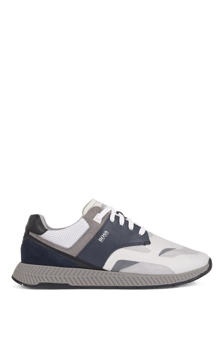 Low-top trainers with suede and nappa leather, Blue