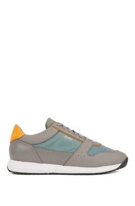 Sneakers d'ispirazione rétro in similpelle con dettagli trasparenti, Grigio