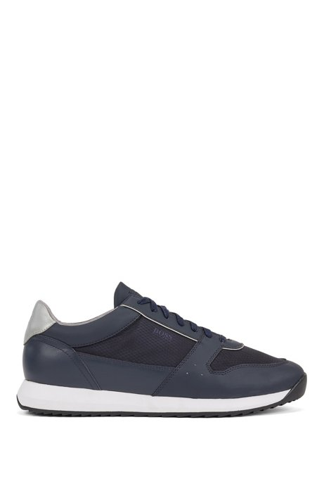 Retro-inspired trainers in faux leather with transparent trims, Dark Blue