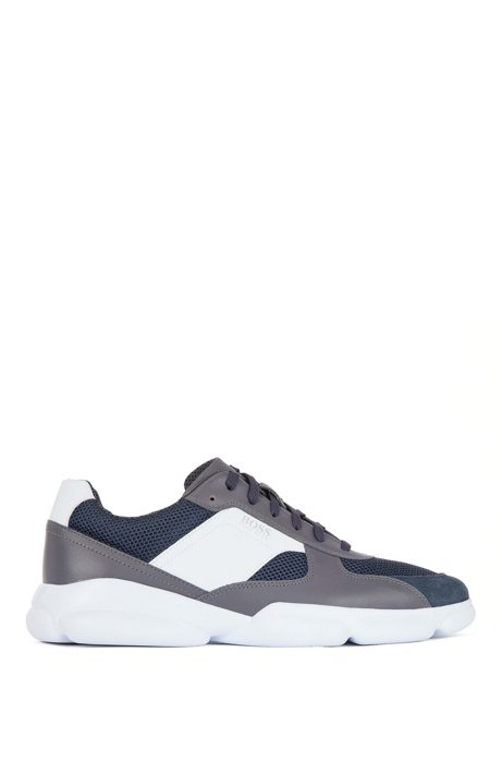 Low-top trainers in leather with open-mesh panels, Dark Grey