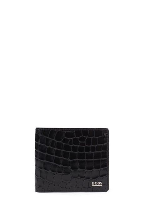 Crocodile-embossed wallet in Italian leather with polished hardware, Black