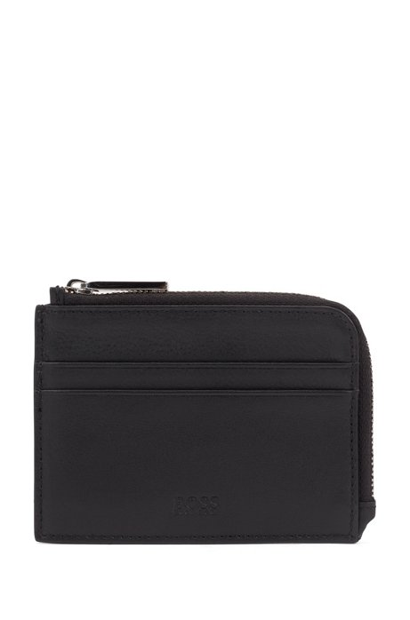 Zip-around coin case in plain leather, Black