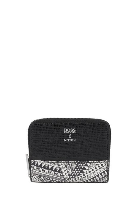 Coin case in Italian leather with collection print, Black