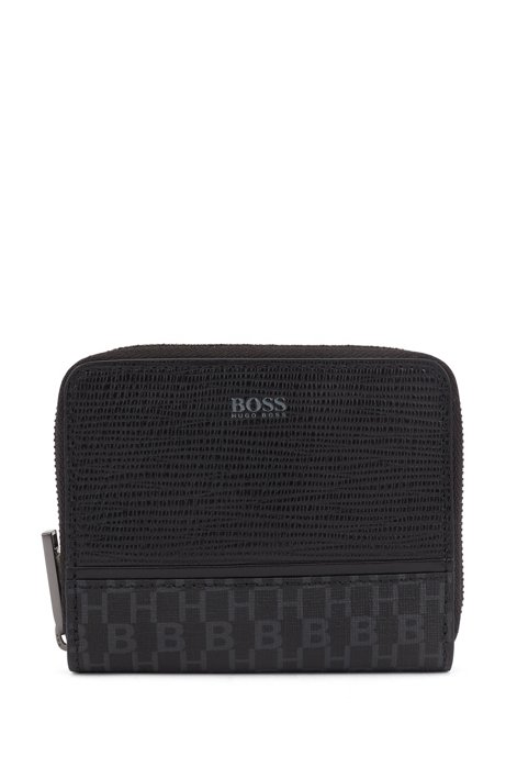 Wallet in monogrammed material and embossed leather, Black