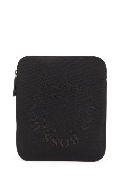 Umhängetasche aus strukturiertem Nylon mit kreisförmigen Logos, Schwarz