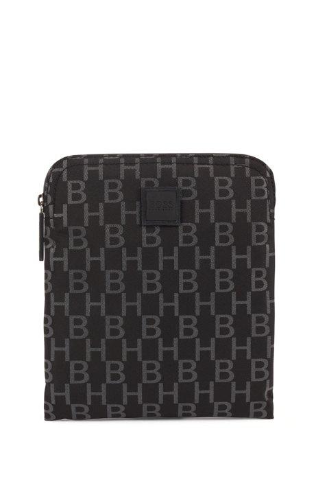 Structured-nylon envelope bag with monogram print, Black