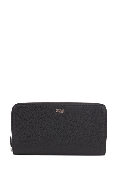Zip-around wallet in embossed Italian leather, Black