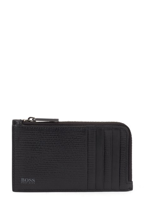 Coin case in monogram fabric and embossed leather, Black