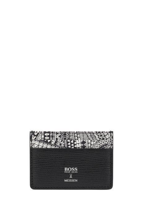 Card holder in Italian leather with collection print, Black