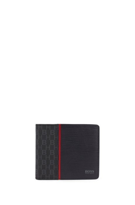 Billfold wallet in embossed leather and monogram fabric, Dark Blue