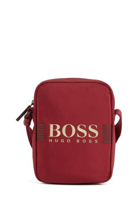 Reporter bag con logo in tessuto tecnico strutturato con tracolla regolabile, Rosso scuro