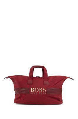 Amplio bolso weekender en nylon estructurado con logo y correa desmontable, Rojo oscuro
